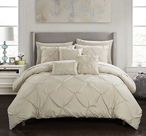 Chic Home Hannah 10 Piece Comforter Complete Bag Pinch Pleated Ruffled Pintuck Bedding with Sheet Set and Decorative Pillows Shams Included, Queen, Taupe