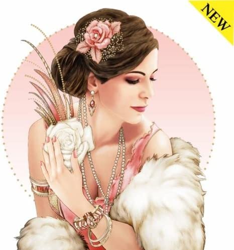 Debbi Moore Design Art Deco Lady in Coral ~ Blank Card