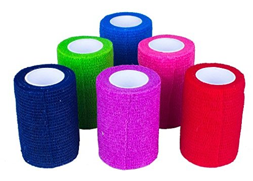 """Ever Ready First Aid Self Adherent Cohesive Bandages 2"""" x 5'- 12 Count, Rainbow Colors (12)"""