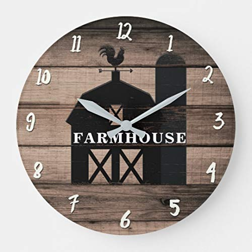 - Rustic Weathered Wood Black Barn Country Farmhouse Nursery Wooden Wall Clock Battery Operated Roman Numerals Silent Non-Ticking 14 Inches Kids Clock