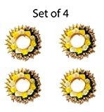 Verbier Tea Light Diya/Candle Holder of Artificial Flower Decoration Diwali Diya for Diwali and Festivals and Puja (Set of 4) Yellow