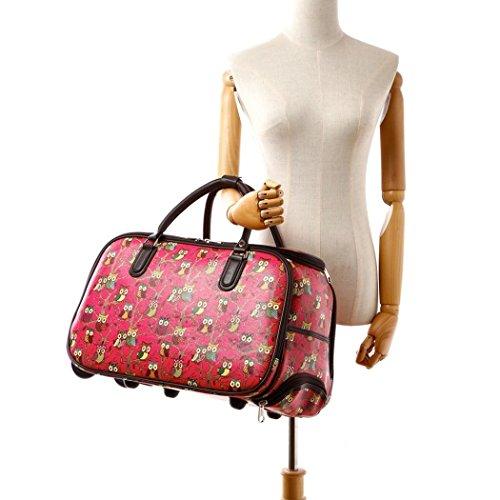 LeahWard Frauen Girls Holdall Faux Leder Gepäck Tasche Hand Gepäck Reise Koffer Urlaub Taschen CW01 (S Fuchsie Eule) S Fuchsie Eule