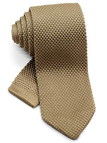 WANDM Men's Pointed Knit Tie Necktie Width 2.75 inches Washable Solid Color Camel Light Brown