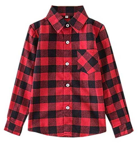 Kids Girls Long Sleeves Button Down Gingham Plaid Flannel Shirt Tops for Toddlers Baby and Little Girls, Girls(E001), 10-11 Years/Tag 170