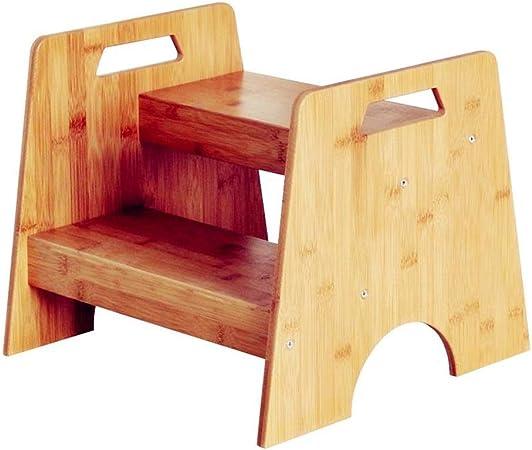 CQILONG Taburete WC Escalon Infantil Escalera De Niños Ascendente Asistente Aseo Estante Madera Bambú Anticorrosivo Y Duradero, Teniendo 20 Kg (Color : A, Size : 40x38x33cm): Amazon.es: Hogar