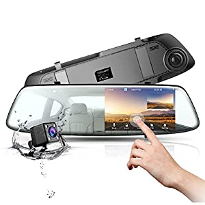 Dash Cam Backup Camera TOGUARD Mirror Dash Cam Rear view Dual Lens 4.3 Inch Touch Screen,1080P Full HD 170° Wide Angle Front Car Camera Video Recorder and with Parking Monitor G-Sensor Loop Recording