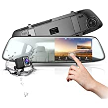 """Backup Camera 4.3"""" Touch Screen Mirror Dash Cam 1080P TOGUARD Front and Rear Dual Lens Car Camera with Parking Assistance, Waterproof Reversing Camera"""