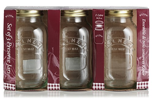 Kilner Canning Jars, 34-Fl Oz, Set of 3