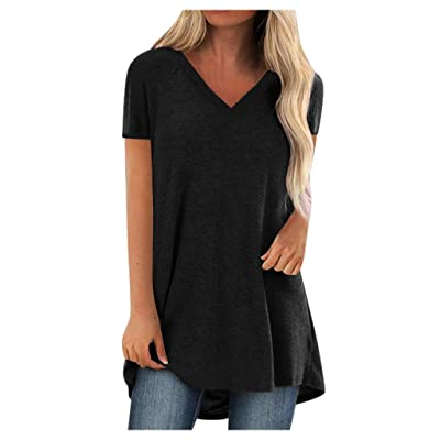 EDC Short Sleeve Tunics for Women to Wear with Leggings Oversized V Neck Solid T Shirt Tops Blouse Tee Plus Size. S-5XL at Women's Clothing store