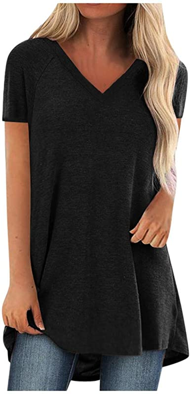 Short Sleeve Tunics for Women to Wear with Leggings Oversized V Neck Cute T  Shirt Tops Blouse Tee Plus Size.S-5XL at Amazon Women's Clothing store