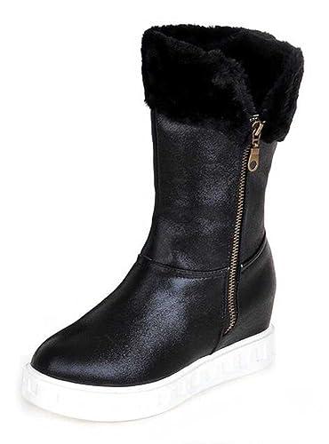 Women's Warm Solid Round Toe Zipper Mid Heel Platform Winter Snow Boot