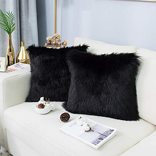 Carvapet 2 Pieces Luxury Decorative Faux Sheepskin Fur Throw Pillow Case Cushion Cover for Sofa Bedroom Couch, Black, 18x18 Inch (Fur Black Pillow)