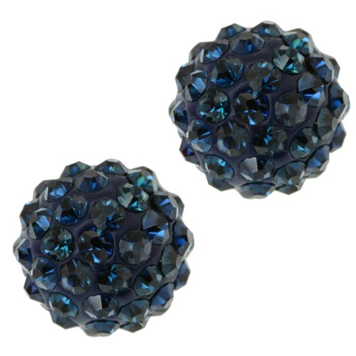 12mm Round Dark Blue Pave Crystal Disco Ball Stud Earrings