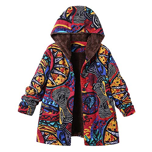 Womens Winter Warm Outwear Duseedik Floral Print Hooded Overcoat Vintage Oversize Coats Plus Size Down Jackets -