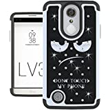 LG Aristo Case, LG Phoenix 3 Case, LG K8 2017 Case, LG Fortune Case, LG LV3 Case, UrSpeedtekLive [Shock Absorption] Studded Rhinestone Bling Dual Layer Protective Case Cover - Don't Touch