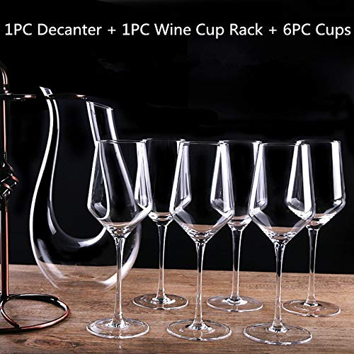 400 Wine Racks - 6PCS 400ML Crystal Red Wine Cup+1PCS Holder Rack+1PCS Decanter Handmade 1500ML Decanter With Glass Goblet Champagne Glasses Set