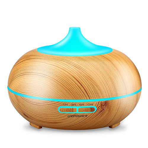 Aromatherapy Essential Oil Diffuser, URPOWER 300ml Wood Grain Ultrasonic Cool Mist Whisper Quiet Humidifier with Color LED Lights Changing & 4 Timer Settings, Waterless Auto Shut Off for Spa Baby