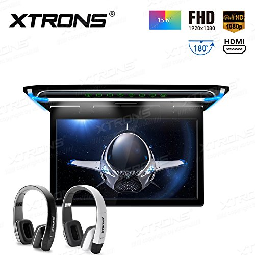 XTRONS 15.6 Inch Ultra-thin FHD Digital TFT Screen 1080P Video Car Overhead Player Roof Mounted Monitor HDMI Port New Version IR Headphones(Black&White)