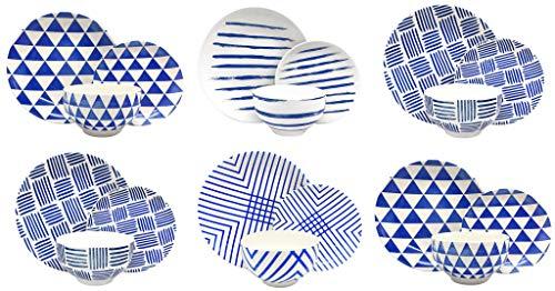 Melange Porcelain 36-Piece Dinnerware Set | Indigo Collection | Service for 12| Microwave, Dishwasher & Oven Safe | Dinner Plate, Salad Plate & Soup Bowl (12 Each)