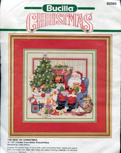 Bucilla The Best of Christmas 12-by-12 inch Counted Cross Stitch Picture/Pillow Kit