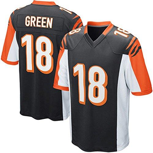 [Mens Football Jersey AJ GREEN #18 Black Adult Short-sleeve Training Practice Football Jersey] (Male Football Player Costume)