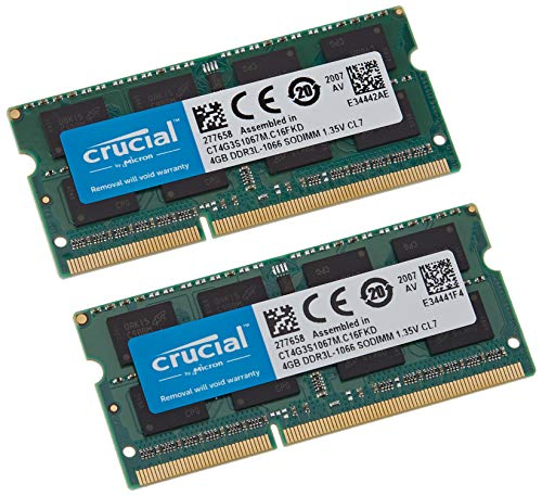 Crucial 8GB Kit (4GBx2) DDR3/DDR3L 1066 MT/s (PC3-8500) SODIMM 204-Pin Memory for Mac - CT2K4G3S1067M