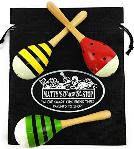 Schylling Musical Instruments 8'' Wooden Maracas Red, Green & Yellow (Percussion) Gift Set Bundle Featuring Exclusive Matty's Toy Stop Storage Bag - 3 Pack by Schylling