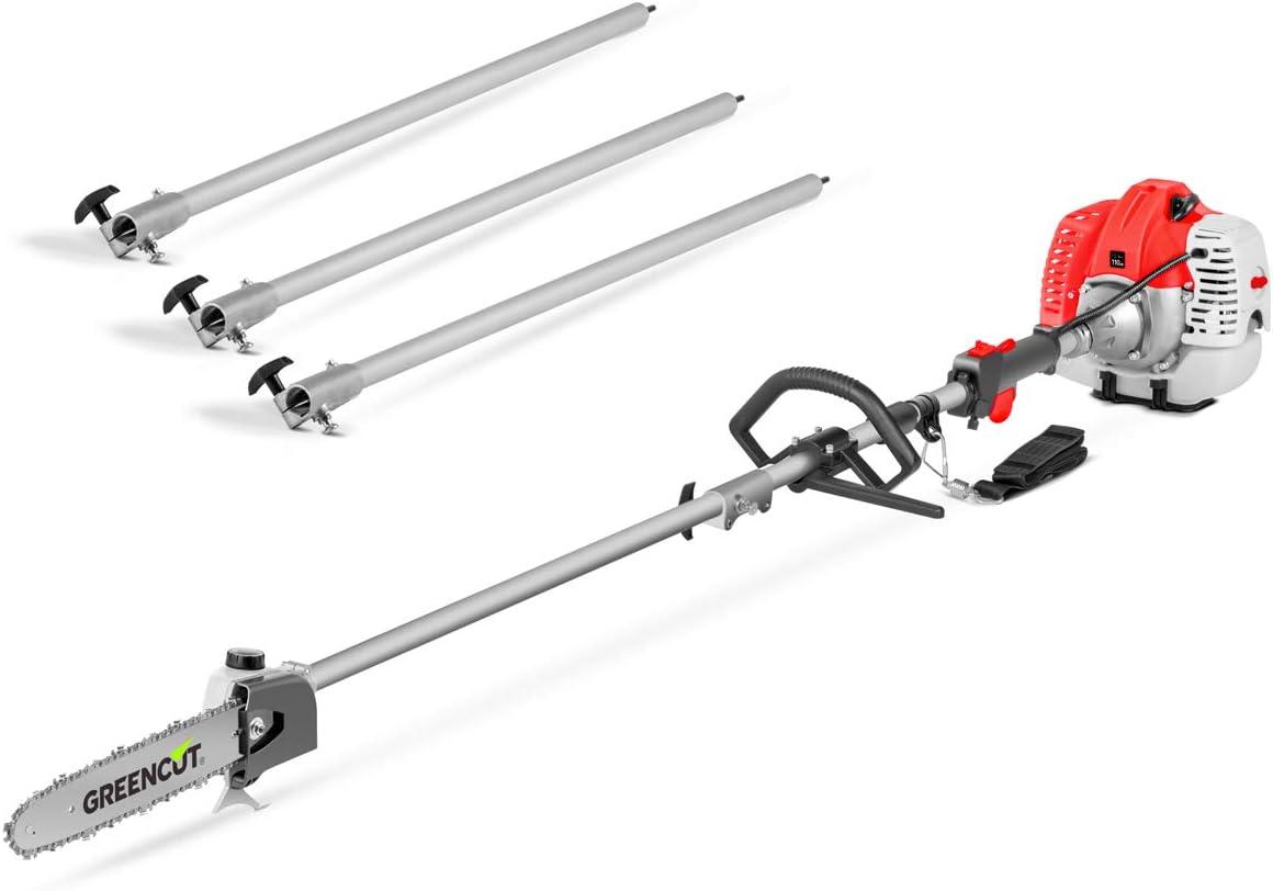 GREENCUT PP650X - Podadora de altura de gasolina de 56cc y 4,9cv, Espada de 305mm y altura maxima de 5m con 3 barras extensibles