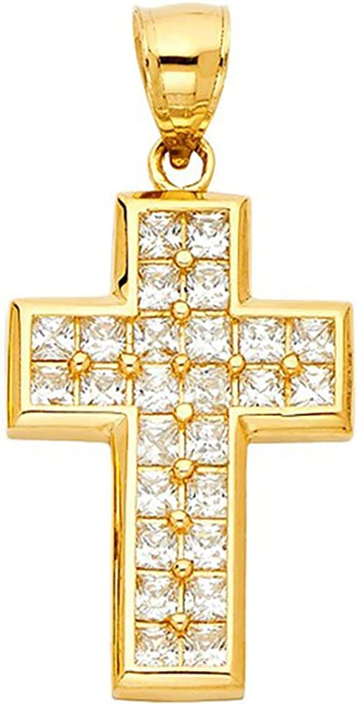 14k Yellow Gold Religious Cross Pendant Charm American Set Co