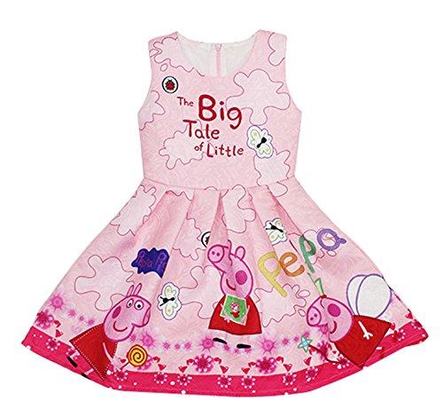 LEMONBABY Adorable Peppa Pig Girls Princess Birthday Dress (3-4Y, Pink)