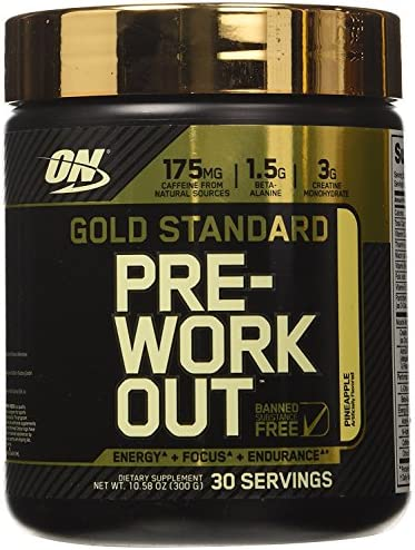 Optimum Nutrition Gold Standard Pre-Workout with Creatine, Beta-Alanine, and Caffeine for Energy, Keto Friendly, Pineapple, 30 Servings