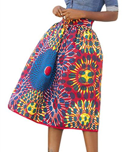 Women's Sun Flower High Waist A-Line Pleated African Print Midi Skirt Large Red
