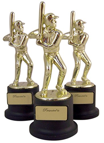 Baseball Participation Trophy - Pack of 3 Black and Gold Sports Award Trophies for Teachers and Kids, 5 Inch (Baseball)