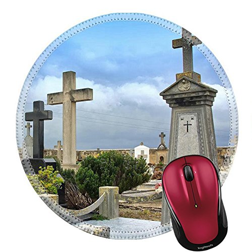 Liili Round Mouse Pad Natural Rubber Mousepad Crosses in the catholic cemetery of Alcudia Majorca Balearic Islands A Photo 11119961 ()
