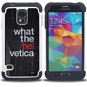 Dragon Case- Dise?¡Ào de doble capa pata de cabra Tuff Impacto Armor h??brido de goma suave de silicona cubierta d FOR Samsung Galaxy S5 I9600 G9009 G9008V- QUOTE ART WHAT BLACK FUNNY HELL THE