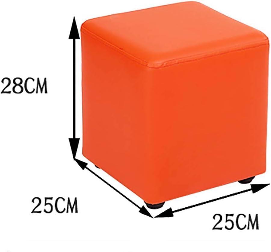 WFFF Gepolsterter Fußschemel, osmanischer quadratischer Hocker Fußschemel Fußschuh aus Kunstleder Fußschemel Orange