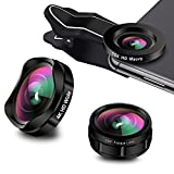 iPhone Camera Lens, AiKEGlobal 3 in 1 4K HD Wide Angle Lens + 15X Macro Lens + 230°Fisheye Lens,Clip-on iPhone Lens Kit for iPhone X/8/7/6s/6 Plus, Samsung and More
