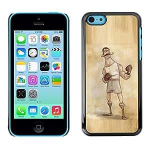 FlareStar Colour Printing Boxer Retro Vintage Manly Man Gloves cáscara Funda Case Caso de plástico para Apple iPhone 5C