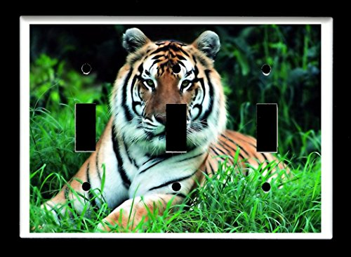 (Triple Toggle (3-toggle) Light Switch Plate Cover - African Wildlife Safari Animals - Tiger)