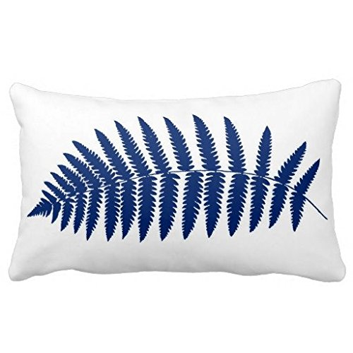 Lightenien Woodland Fern Cobalt Blue and White Cotton Canvas Decorative Rectangle Throw Pillow Case Cushion Cover, 20-Inch x 30-Inch ()