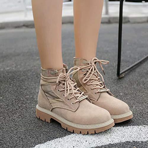 Pointure D'hiver Daim Chaussures Taille Block Riding Semelles Toe Lolittas Kaki Steel Mid Cheville Femmes Talon Lacets Plate forme High 7 3 Martin Bottes Xqwq7HIxE