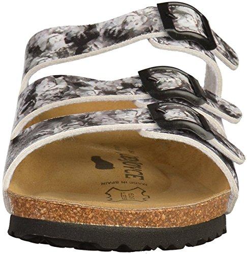 JOE N JOYCE Damen Paris Synsoft Soft Fußbett Sandalen White Grey Flower Größe 38 EU Schmal