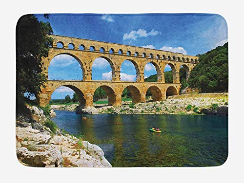 Weeosazg Landscape Bath Mat, Ancient Roman Heritage Wall Southern France Architectural Historical Landmark, Plush Bathroom Decor Mat with Non Slip Backing, 23.6 W X 15.7 W Inches, Blue Green Tan -