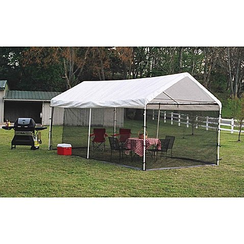 - ShelterLogic® Heavy-duty, Durable, Easy-to-install, Canopy Screen Kit 10-Foot x 20-Foot- Includes: screen kit with double zippered doors, bungee cords, and easy step-by-step instructions