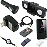 Ultimate Premium Accessory Bundle Combo for Microsoft Zune 80GB / 120GB Series MP3 Player: Black Silicone Skin Case Cover, USB 2in1 Data Sync Cable, USB Car Charger, USB Wall / Travel / AC Adapter Charger, 3.5mm Auxillary Retractable Cable, Belt Clip, Arm