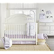 Wendy Bellissimo 4 pc Set Nursery Bedding + Baby Crib Bedding Set for Elephant Nursery from The Anya Collection in Lavender and Grey