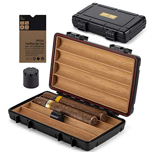 XIFEI Cigar Humidor Cedar Wood Travel Portable Waterproof Cigar Case with Humidifier (Four Position)