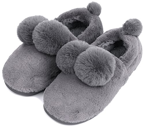 UIESUN Unisex Cute Ball House Slippers Winter Soft Plush Bedroom Indoor Slipper shoes for Lovers Grey 42/43