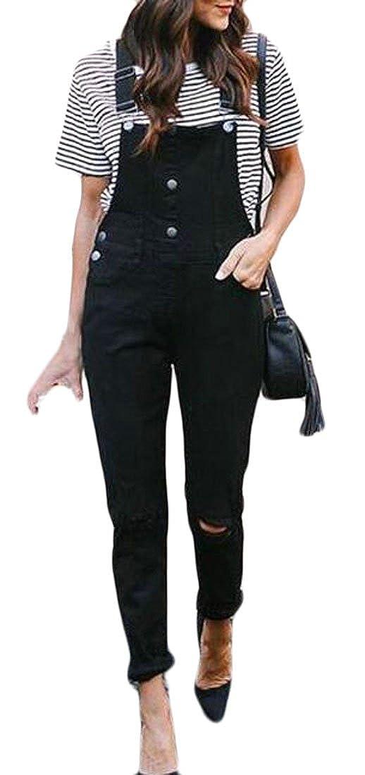 WAWAYA Women Fashion Ripped Jeans Button Adjustable Strap Denim Overalls Jumpsuit Romper