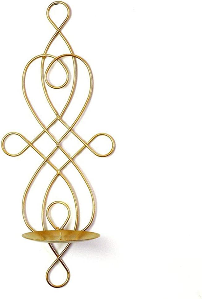 Set of 2 Metal Iron Wall Candle Holders, Vintage European Style Wall Candle Sconces Swirling Iron Hanging Candle Holder for Home, Living Room, Party, Events Decoration (Gold)
